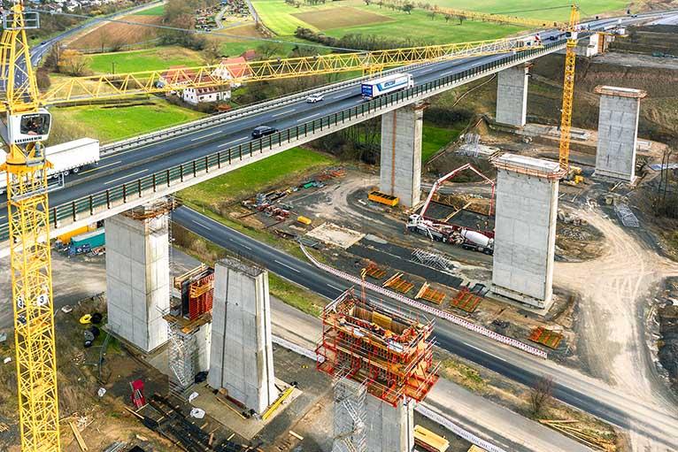 Baudokumentation Brückenbau Kürnach A7 Autobahn