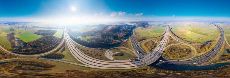 Panorama Autobahnkreuz Luftbild Drohne